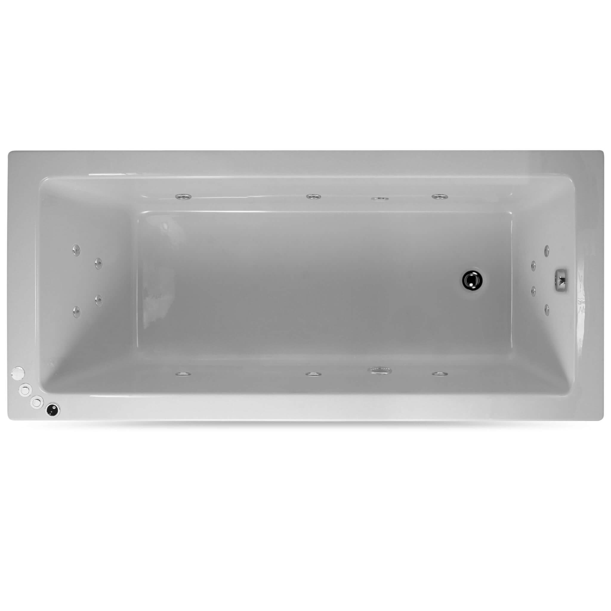 Lisna Waters Lindos 1700mm x 700mm Single Ended Whirlpool Bath 14 Jet Encore System
